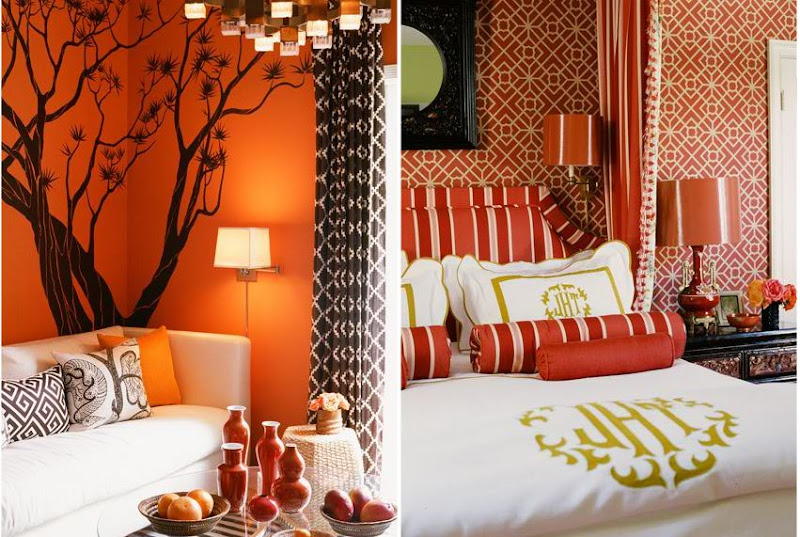On the left is an orange living room with a white sofa, orange walls with a tree decal, brown and white graphic print curtains and a glass table with orange bottles and a bowls of fruit. On the right is a red bedroom with upholstered red and white striped headboard, graphic red and white wallpaper, red lamps and white bedding with lime green embrodiery