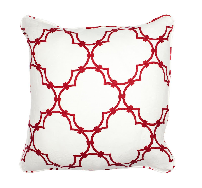 COCOCOZY Quatrefoil linen pillow with self welt in Dark Red