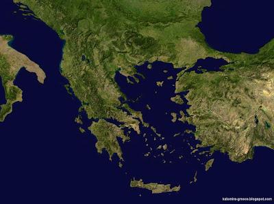 На фото: Греция. Вид из космоса