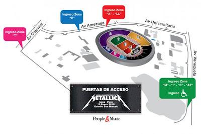 Rutas de acceso concierto de Metallica