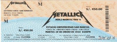 Entrada concierto de Metallica