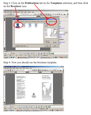 4 steps to create a new brochure open microsoft office word 2003