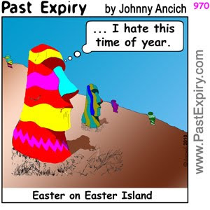 [CARTOON] Good Friday on Easter Island.  images, pictures, cartoon, Easter, holiday, vacation, egg, chocolate