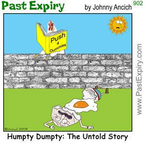 [CARTOON] Humpty Dumpty. animals, cartoon, celebrity, crash, fall, kids, pain, spoof, tragedy, violence