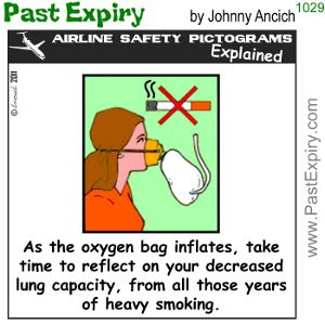 [CARTOON] Lung Volume. cartoon, airlines, crash, cigarettes, health, pictogram, spoof,