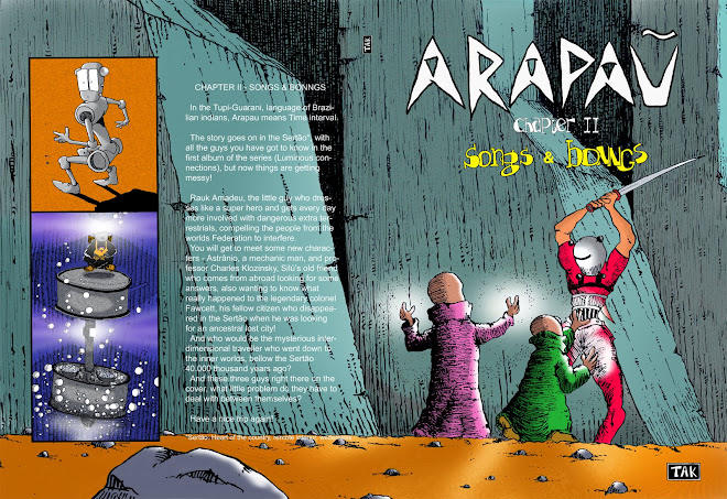 Capa e contra capa de um dos álbuns da HQ Arapau