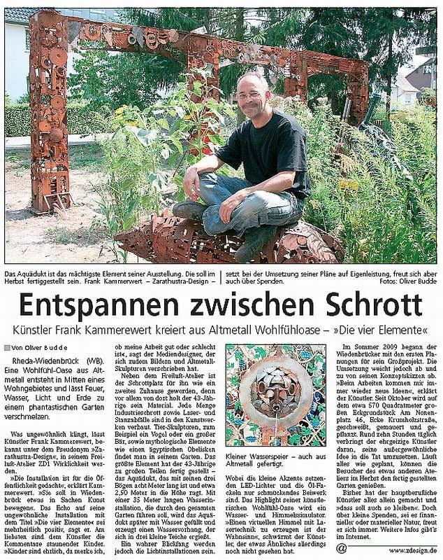"""Bericht der Tageszeitung """"Westfalenblatt"""""""