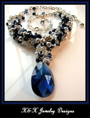 Navy Blue and Silver Swarovski Crystal Waterfall Necklace