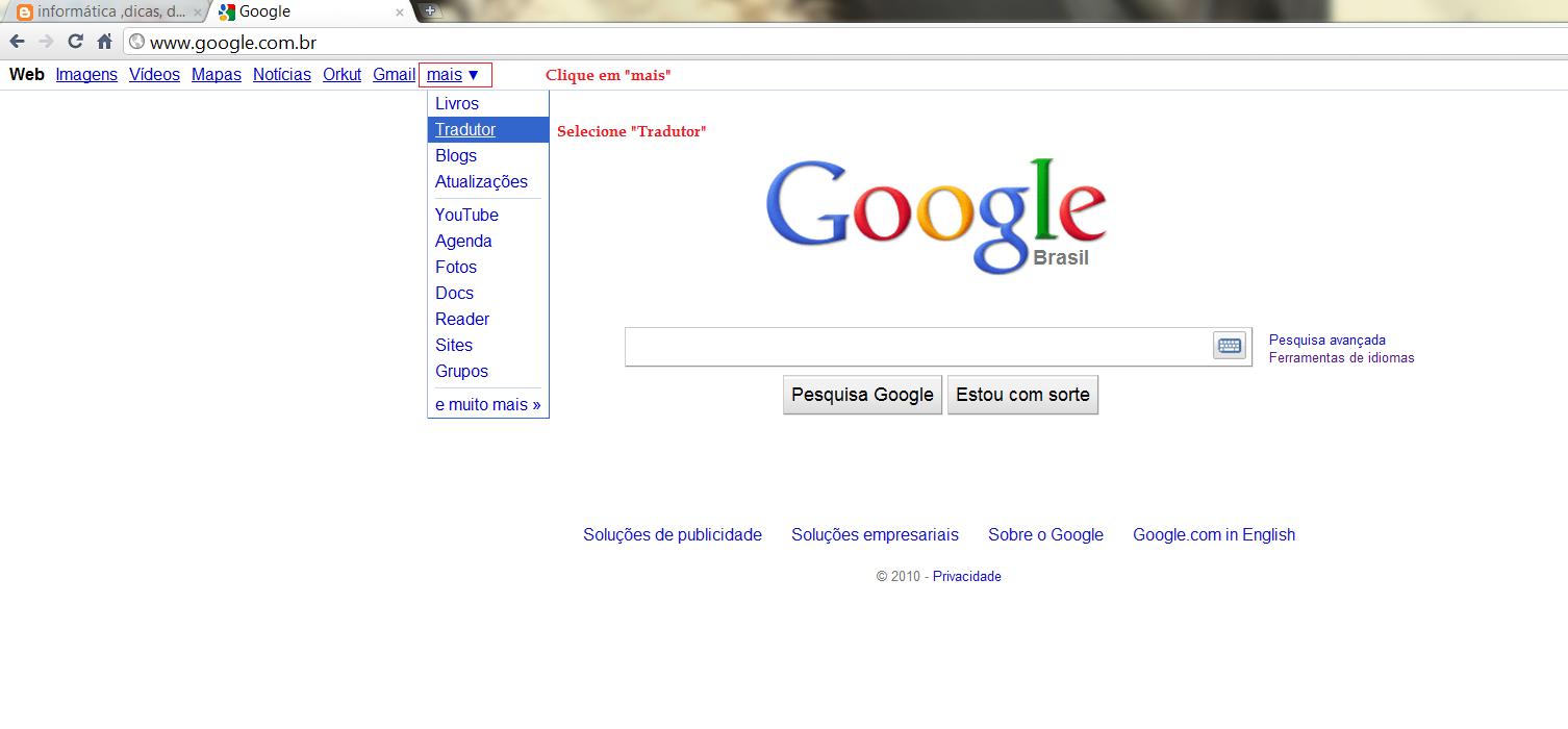 infoFUTIL: Tradutor Online - Funcionalidades do Google - photo#29