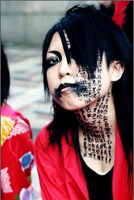 Incredible Face Tattoo on Girl