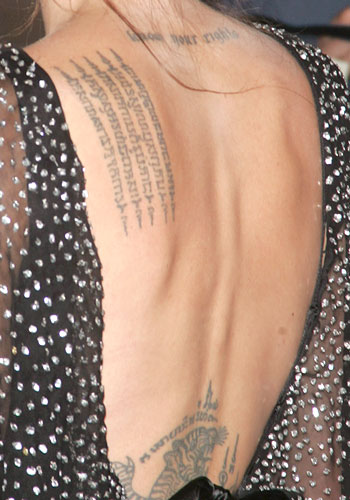angelina jolie wanted back tattoo. angelina jolie tattoo meaning