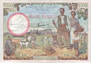 La monnaie (les billets) tunisienne à travers le temps Recto+1000+francs+1946