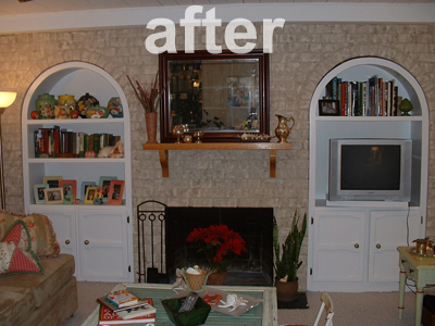 Remember Nancy's brick fireplace? She asked us for tips on how to update it