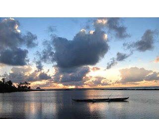 Hawaiian Fishpond in Molokai at sunrise