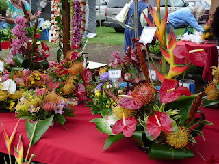 Hawaiian Tropical Flower arrangements at Farmers Market in Hawaii