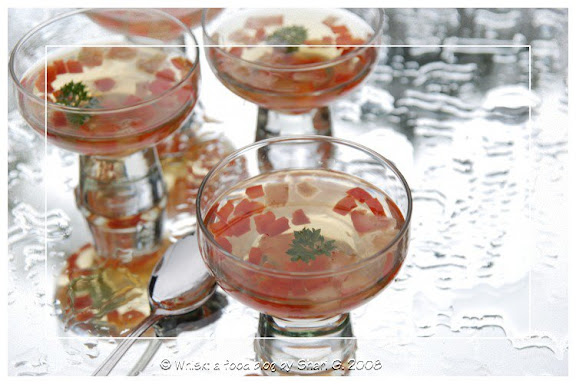 Consommé Madrilène (Chilled Consommé with Red Peppers and Tomatoes)