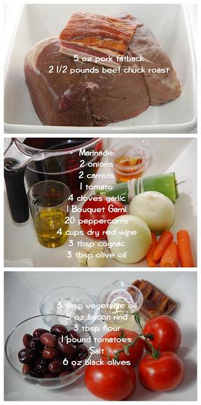 Éstouffade de Boeuf Provençale (Braised Beef Casserole, Provence Style) mise en place