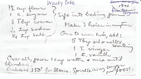 Recipe Card for Wacky Cake