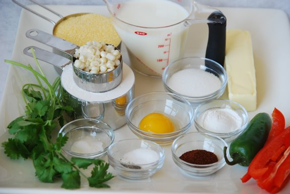 Ingredients for Savory Corn and Pepper Muffins