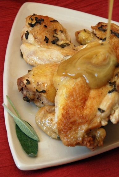 Fricasse de Poulet  l'ail et  la Sauge (Chicken Fricassee with Garlic and Sage)