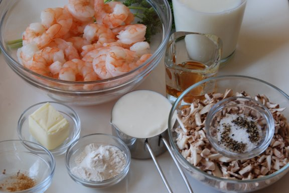 Bouchées aux Crevettes (Puff Pastry Shells Filled with Shrimp and Mushrooms) mise en place