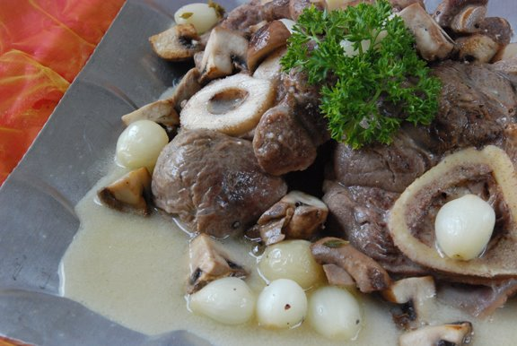 Rouelles de Veau Bourgeoise (Veal Shanks with Pearl Onions and Mushrooms)
