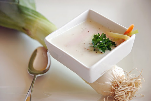 Julienne Darblay (Creamed Leek and Potato Soup with Julienned Vegetables)