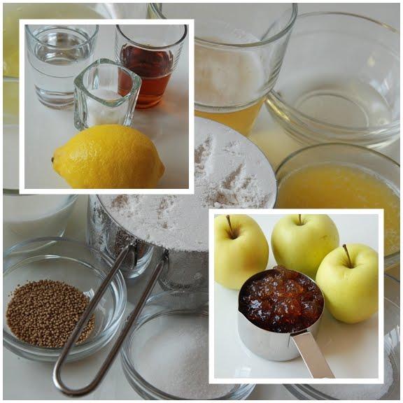 Beignets aux Pommes, Sauce Abricot (Apple Fritters with Apricot Sauce) mise en place