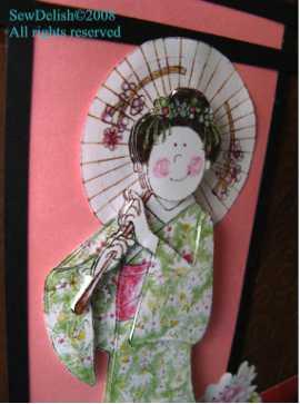 Oriental kimono paper tole Chinese Japanese card
