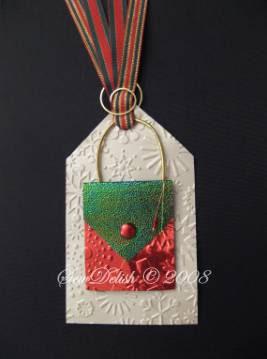 cuttlebug tag snowflakes bag purse Christmas xmas