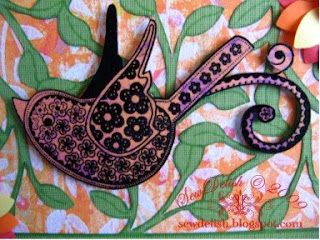 Exotic Orange Cricut Card Kaisercraft bird flora fauna clear stamp Black Embossed