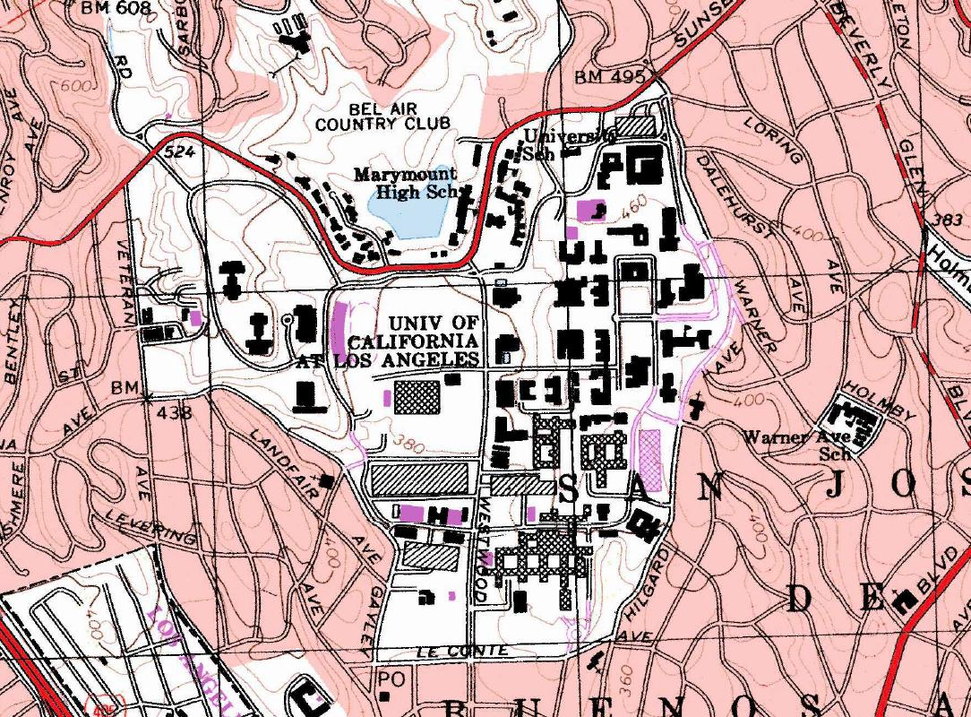 below is a map of ucla and a chart showing the elevation changes of the campus