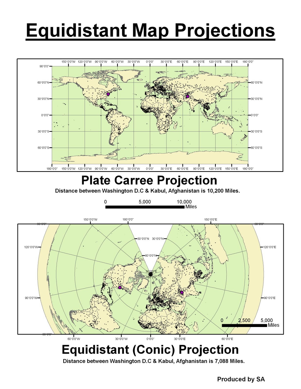 working with the preserved map projections of conformal equidistant and equal area has showed me the importance of knowing and setting the proper map
