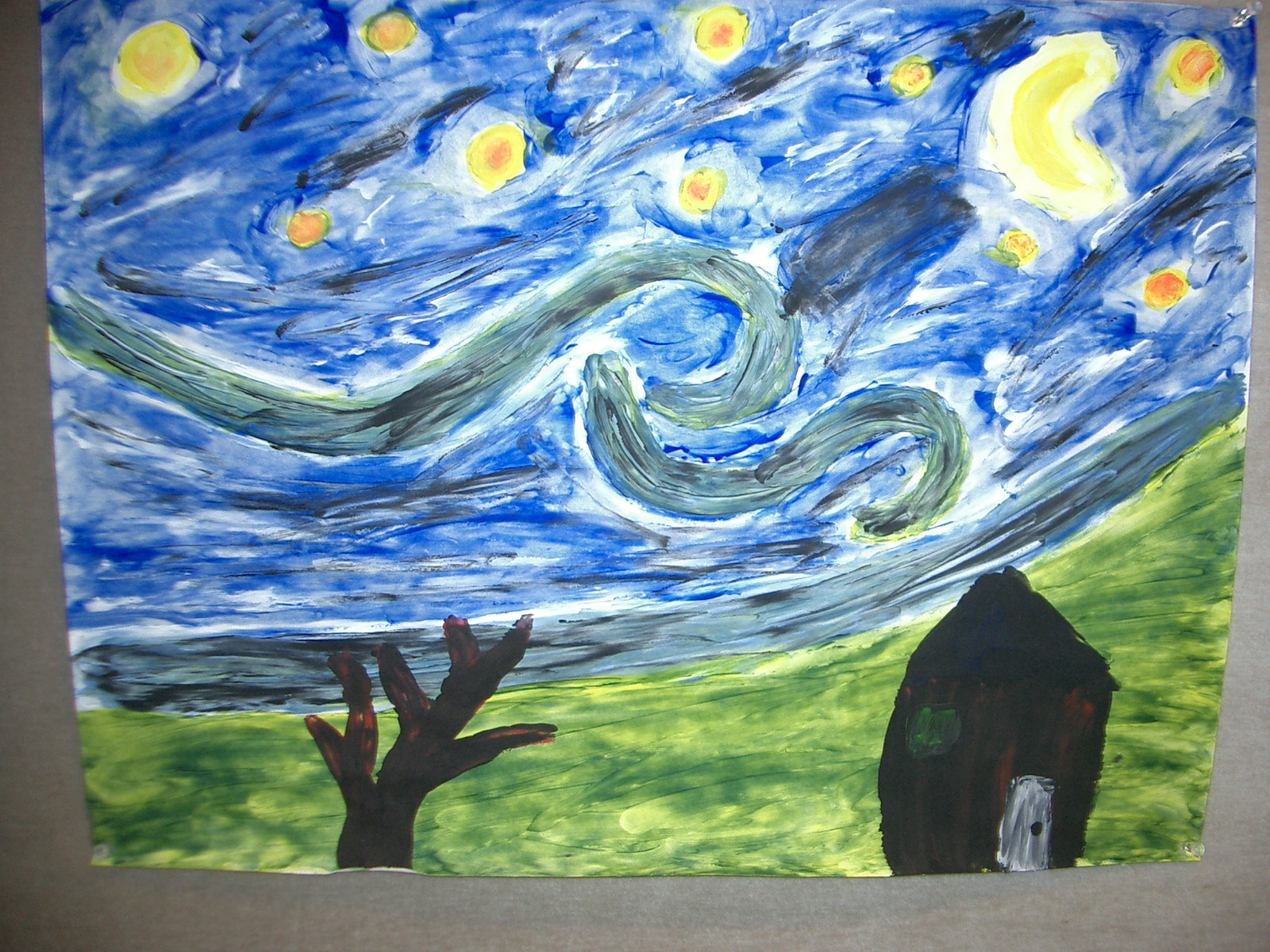 mrs davies art studio starry night finger painting starry night finger painting