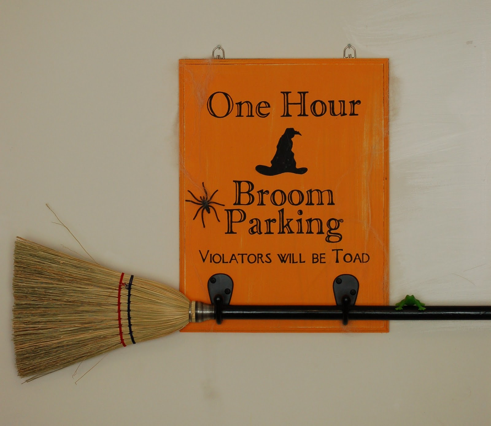 Diary of a crafty lady broom parking halloween sign for I sign decoration