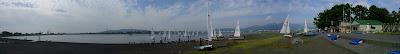 レース海面のパノラマ写真