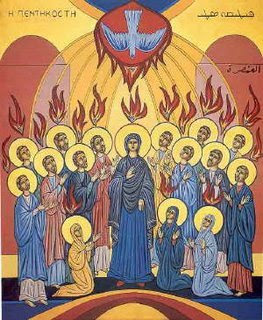 Maronite Icon of the Pentecost with Mary and the Apostles dans immagini sacre Maronite-Pentecost