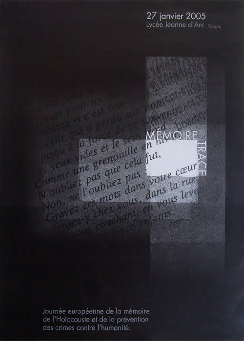 «Mémoire/trace» affiche et flyer d'une journée commémorative