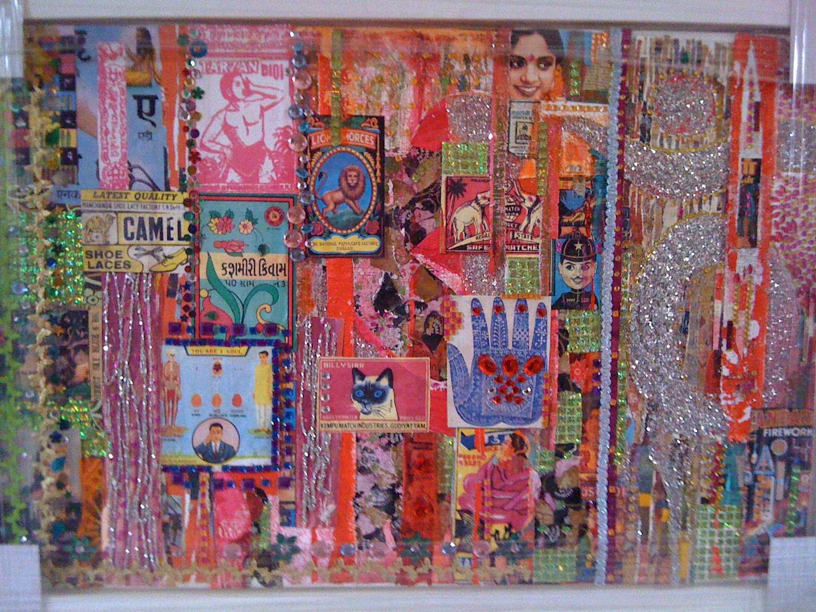 Elspeth Gliksten Art Indian Mixed Media Collage On Canvas