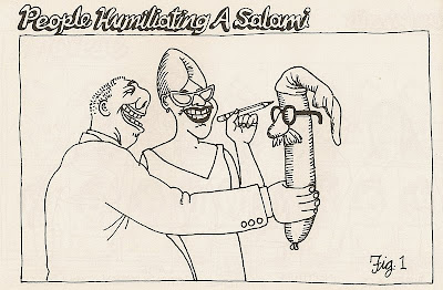 B. Kliban people humiliating a salami