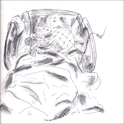 Alida after her epidural, birthing drawings by F. Lennox Campello