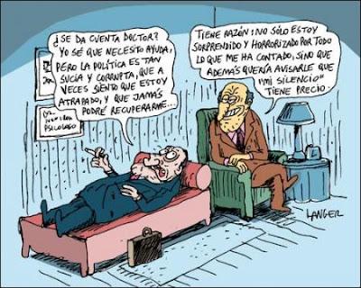 Caricatura de político corrupto acostado en el diván