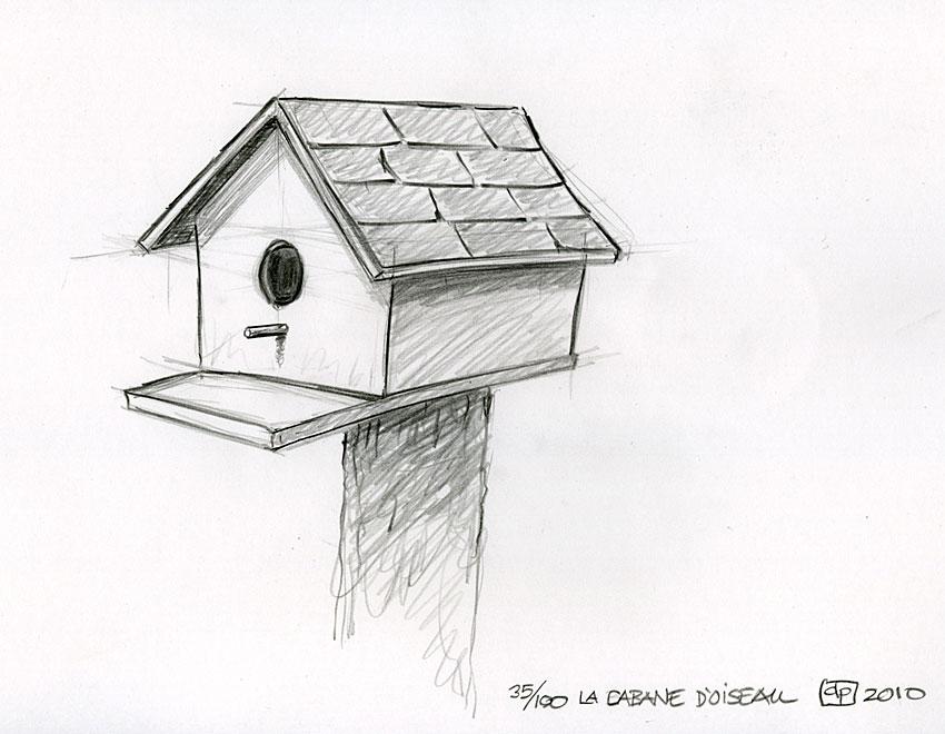 Les dessins de daniel croquis d 39 une cabane d 39 oiseau - Dessin de cabane ...