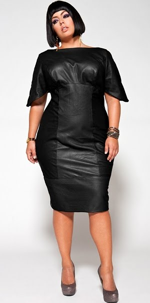 Plus size black leather dress with sexy front lace-up opening. The lace-up front of this dress reveals a tantalizing glimpse of skin and the short flirty skirt exposes a length of bare thigh.