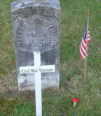 tombstone of Jacob W. Huffman, Civil War veteran, Co. B, 93  Illinois Infantry, Fall City WA Cemetery