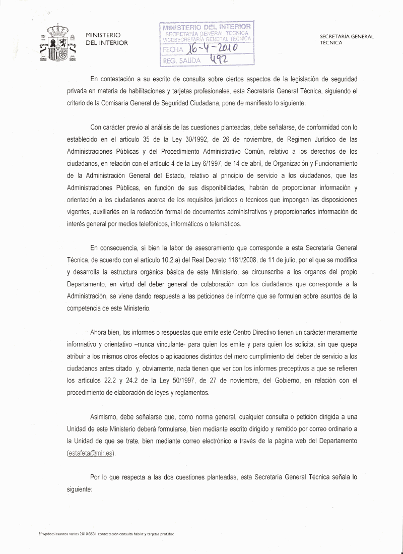 Vigilantes de seguridad legislacion y normativa e informes for Secretaria del ministerio del interior