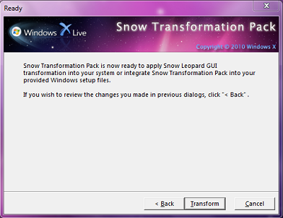 Snow Leopard transformation pack untuk Windows 7