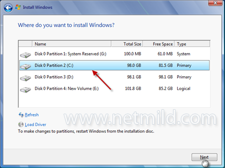Select Partition Cara Reinstall Windows 7 Tanpa Format Hard Drive
