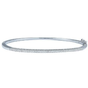 Sterling Silver Diamond Straight-Line Bangle Bracelet