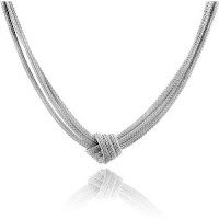 Sterling Silver 3-Strand Mesh Knot Necklace